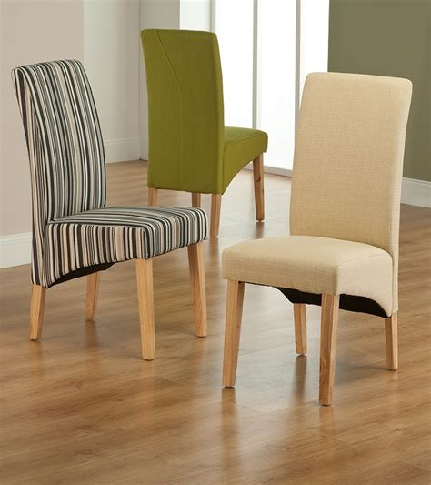 Roma Striped Fabric Dining Chair Dining Table With Fabric Chairs