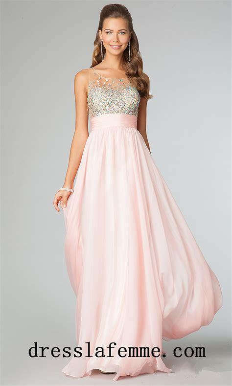2014 Cheap Blush Beaded Sheer Long Prom Dresses StyleCaster