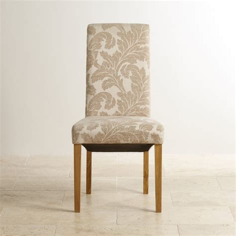 Patterned Fabric Dining Chairs Scroll Back Dining Chair With Solid Oak Legs Patterned Beige