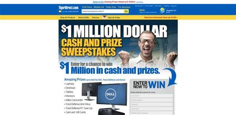 Asp Sweepstakes - tigerdirect 1 million dollar cash and prize sweepstakes