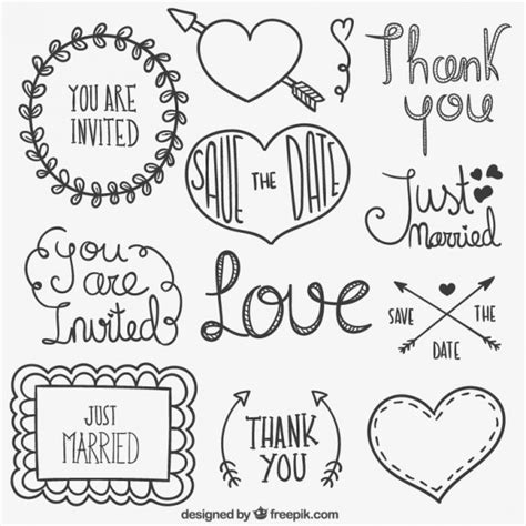 hand drawn vector tutorial wedding elements in hand drawn style vector free download