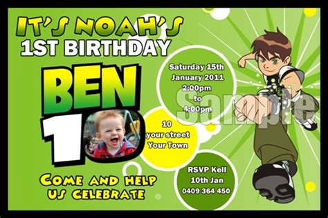 Ben 10 Birthday Invitation Cards Templates by Ben 10 1