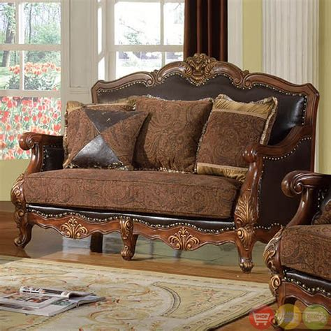 Formal Sofa Sets by Traditional Medium Cherry Formal Sofa Set With Nail Accents Rpcmo81