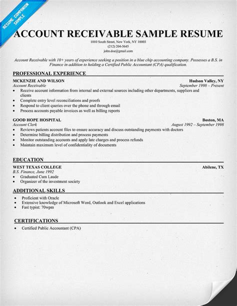 accounts receivable sle resume account receivable resume sle resume sles across