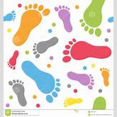 An abstract seamless pattern with colourful baby footprints on white ...