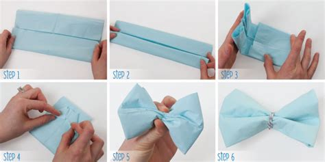 turn paper napkins into bow ties for or