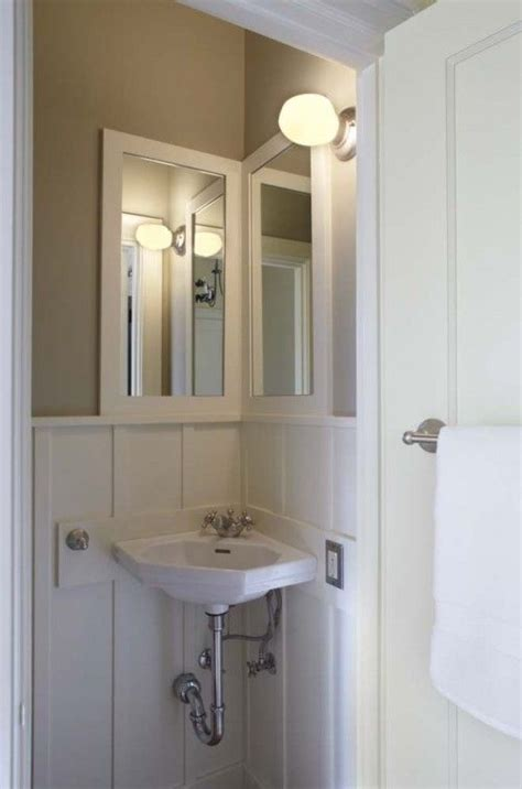 corner mirrors for bathrooms corner sink small guest bathroom home pinterest