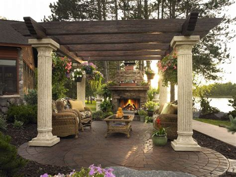 outdoor fireplace pergola pergola and fireplace outdoor spaces garden ideas