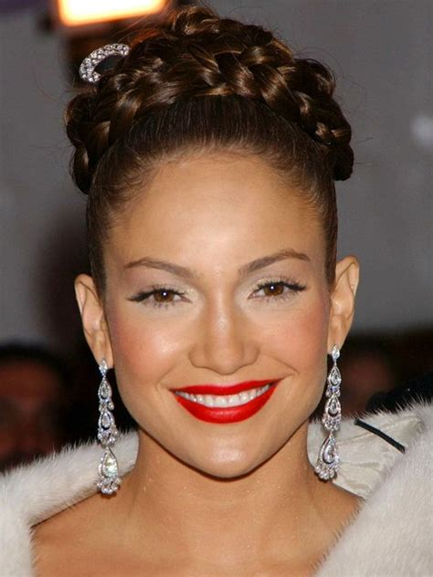 jlo braid inn middle of hair jennifer lopez updos braided bun updos hairstyles