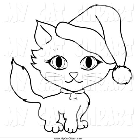 christmas kitty coloring page royalty free stock cat designs of santa hats