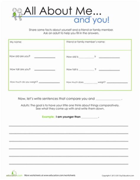 Free Social Skills Worksheets by All About Me And You Worksheet Education