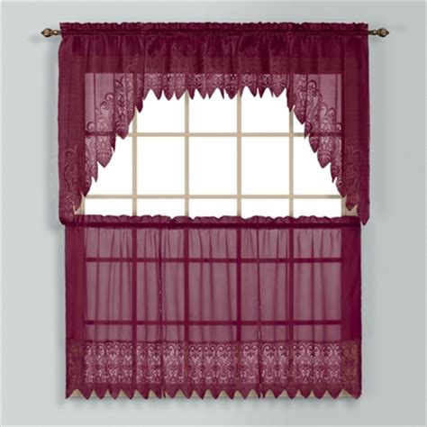 burgundy kitchen curtains valerie macrame kitchen curtain burgundy linens4less com