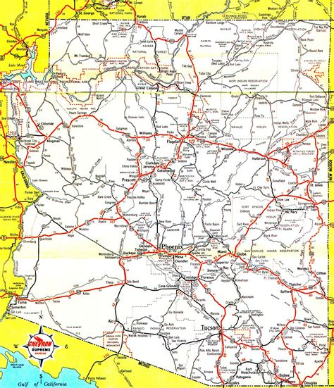 arizona county map with roads arizona maps arizona100