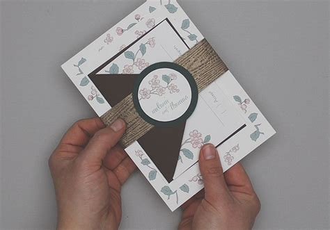 Spring Branch Wedding Invitation Set Diy Tutorial Invitation Band Template