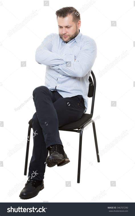 White Sitting Chair by Sitting On Chair Isolated White Stock Photo 346707290