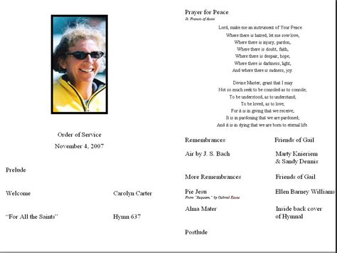service programs memorial service program nov 4