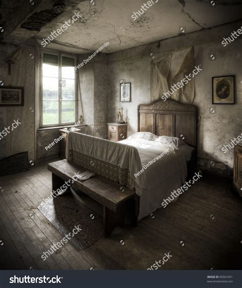 Creepy Bedroom by Creepy Bedroom Scenery Cracked Walls Wooden Stock Photo