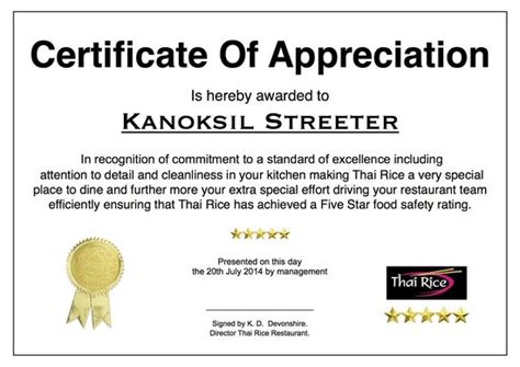 appreciation letter to chef thai chef certificate of appreciation picture of