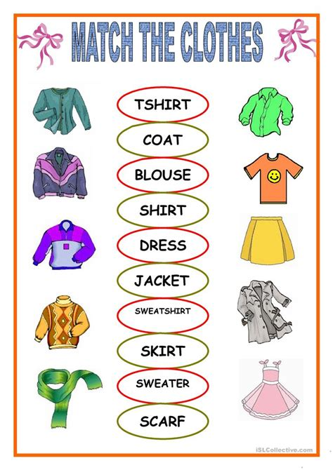 clothes matching worksheets clothes matching worksheet free esl printable worksheets