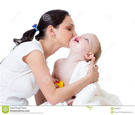 girl and boy kissing in bathroom mother kissing baby girl after bathing royalty free stock