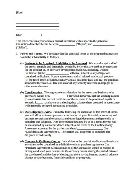 business letter of intent template 11 letter of intent templates free sle exle