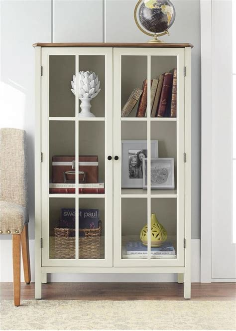 display cabinet storage furniture 2 glass doors home