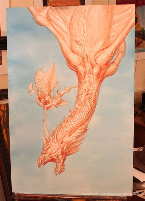 acrylic painting underpainting fight jeff miracola artist and illustrator