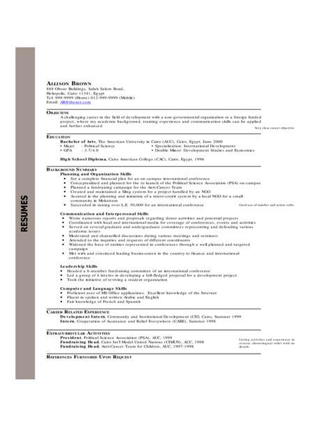 chronological resume exles free