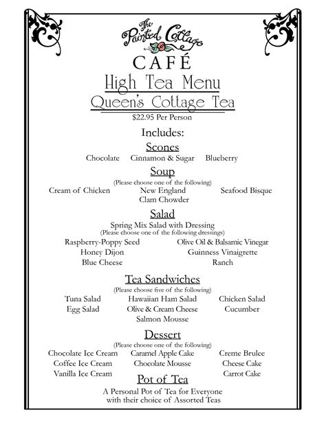 High Tea Menu Queens Cottage Jane Austen Pinterest High Tea Menu High Tea And Teas Afternoon Tea Menu Template