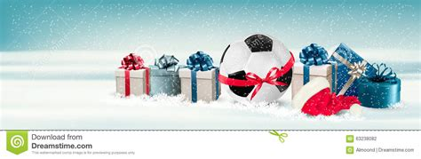 holiday banner   gift boxes  soccer ball stock vector illustration  greeting