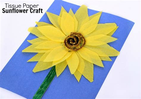 Sunflower Paper Craft - tissue paper sunflower craft for where imagination
