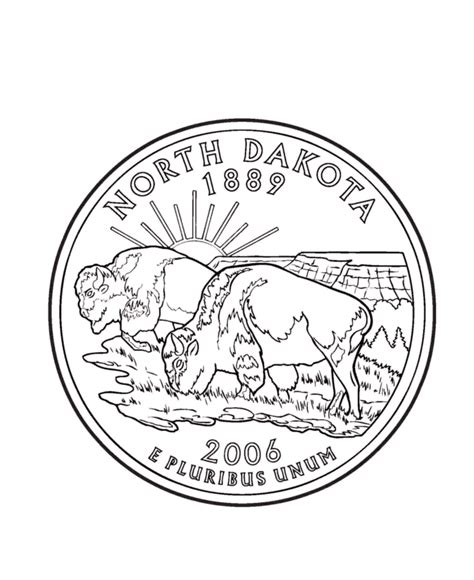 Coloring Page Quarter by Dakota State Quarter Coloring Page Usa State