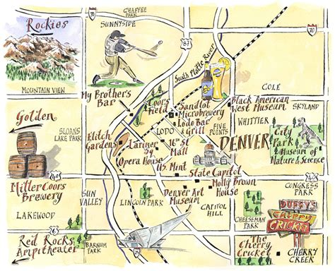 maps denver denver tourist illustrated map mappery