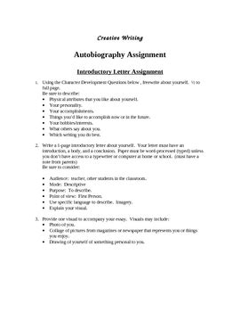 Autobiography Creative Writing Project by Mrs Shakespeare