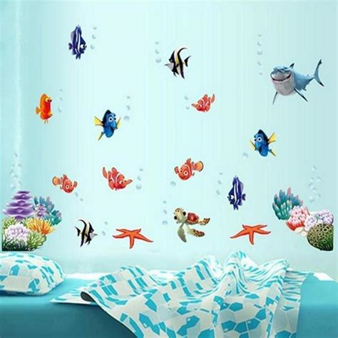 underwater wall stickers coloful underwater world wall sticker living room home decoration creative decal diy mural wall