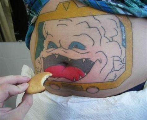 funny belly button tattoos ridiclously awesome tmnt krang stomach