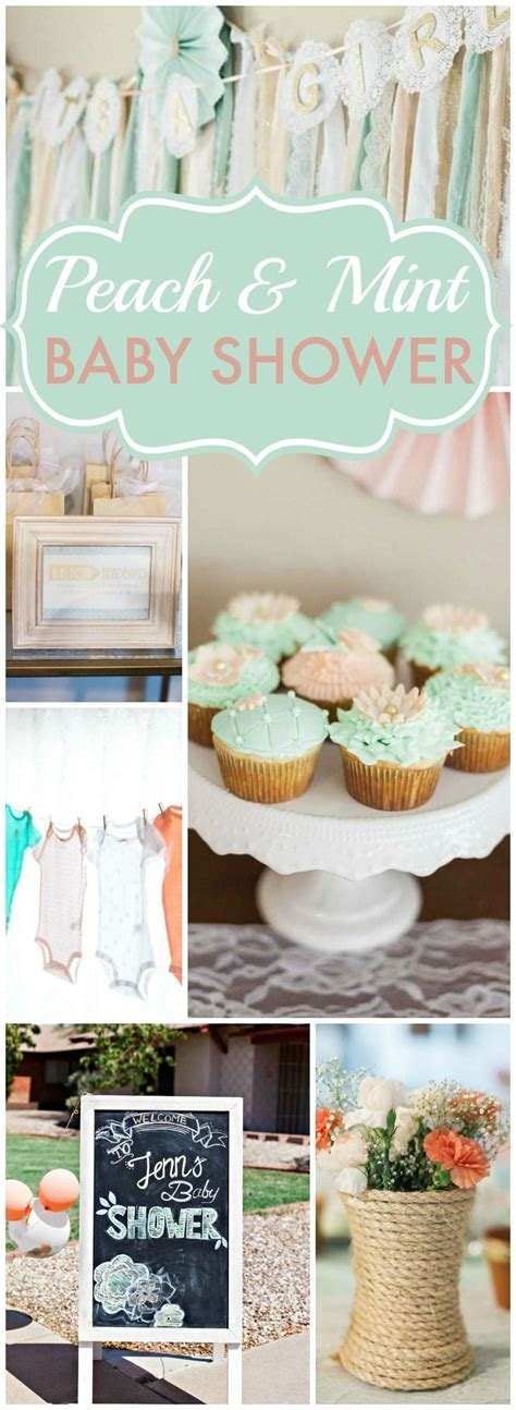 Pretty Baby Shower Themes by Mint Baby Shower Quot Jenn Is Blooming Baby Shower
