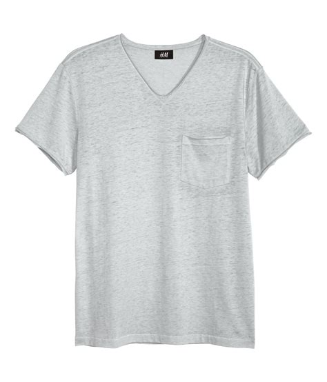 M I T H h m t shirt with edges in gray for lyst