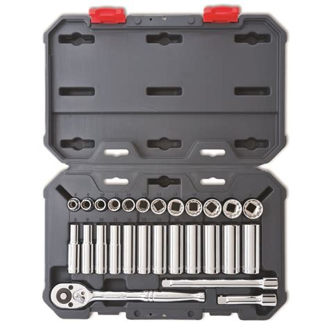 Socket Wrench Set 27 Pcs crescent 27 3 8 quot drive 6 and 12 point metric standard and socket wrench tool set