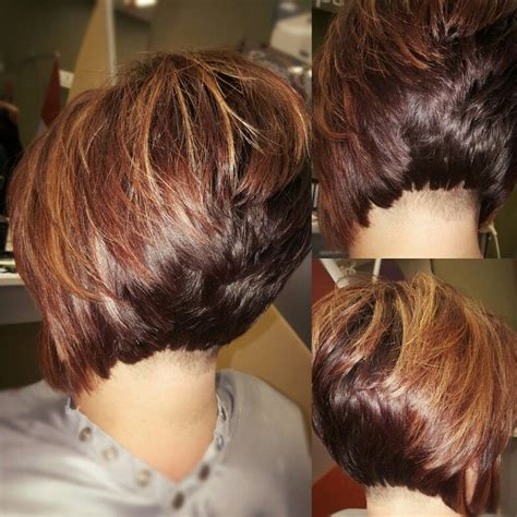 high layers hair style undercut stacked bob with high lights and low lights