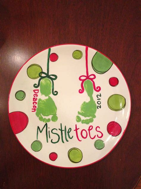 and footprint crafts mistletoes footprint plate