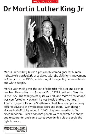 martin luther king biography for students i have a dream speech ks2