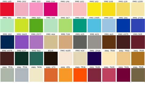 pantone palette pin pantone chart on