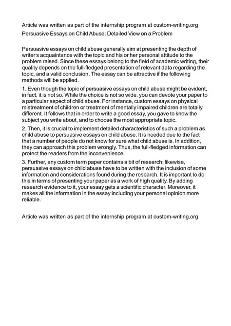 Conclusion On Child Abuse Essay by Calam 233 O Persuasive Essays On Child Abuse Detailed View