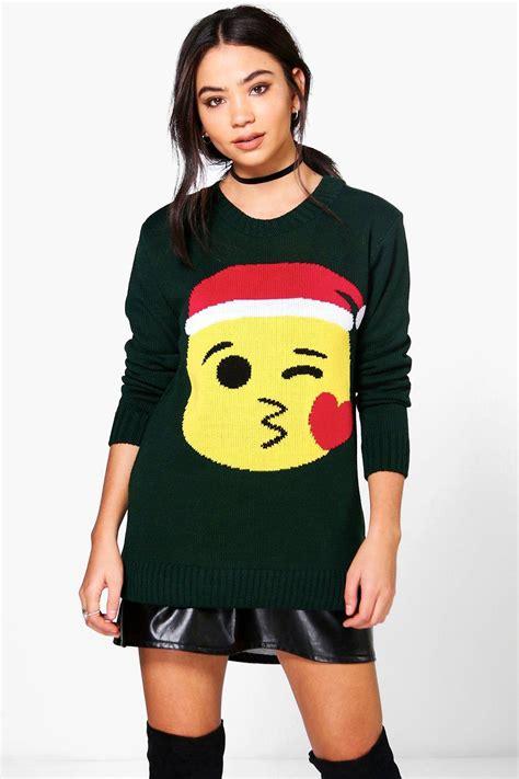emoji xmas jumper scarlett kiss emoji christmas jumper at boohoo com