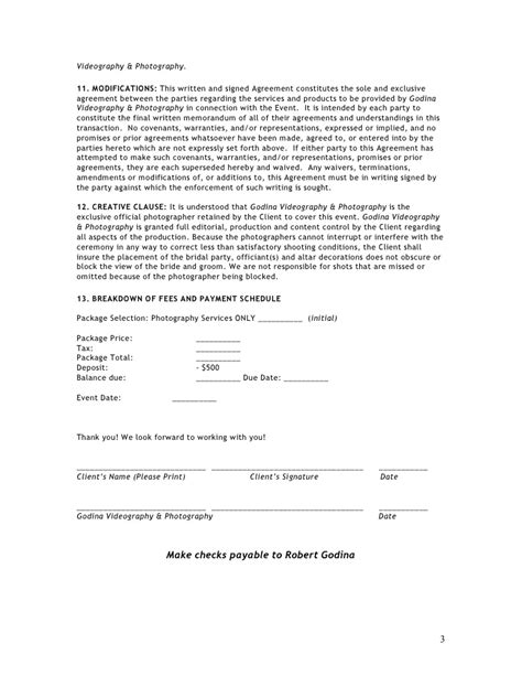 contract for photography services template photography contract