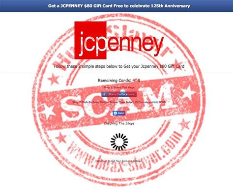 Facebook Free Gift Card Scams - get a free jcpenney 80 gift card facebook scam hoax slayer