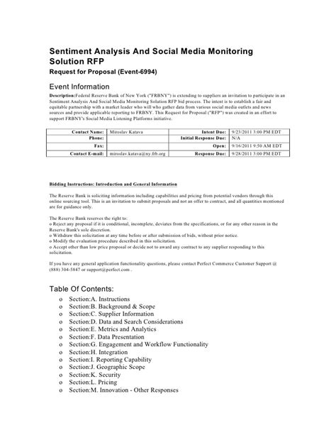 social media rfp template frbny social media rfp