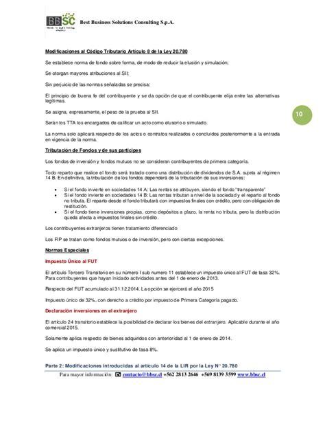 ley 20780 sobre reforma tributaria publicada el 29 de bbsc resumen de la reforma tributaria en chile ley 20 780