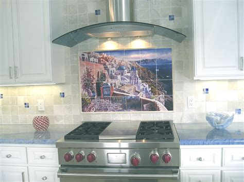 Kitchen backasplash tile mural view of santorini greece artwork by